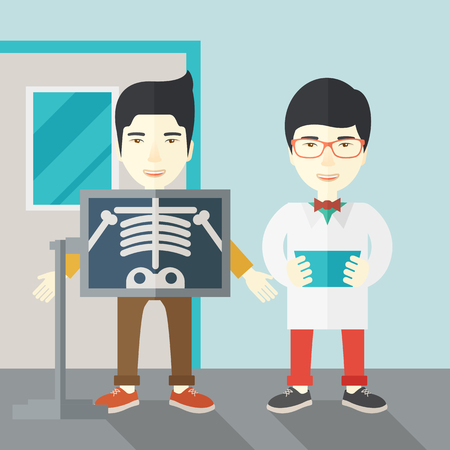 radiograph: An asian patient with x-ray screen showing his skeleton and doctor holding a radiograph vector flat design illustration. Square layout.