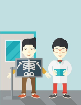 radiograph: An asian patient with x-ray screen showing his skeleton and doctor holding a radiograph vector flat design illustration. Vertical layout with a text space.