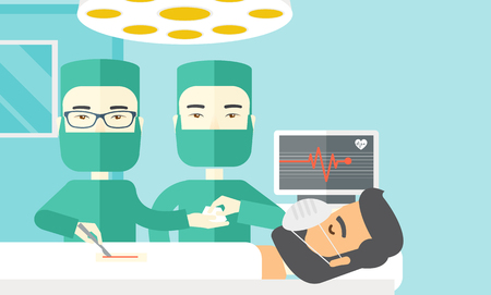 nurse uniform: Two asian surgeons working and looking over a lying patient in an operating room vector flat design illustration. Horizontal layout with a text space.
