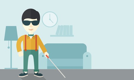 medicine man: An asian blind man in dark glasses standing with walking stick inside the house vector flat design illustration. Horizontal layout with a text space.