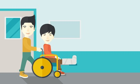 sprain: An asian man carrying a patient with broken leg in the wheelchair vector flat design illustration. Horizontal layout with a text space.