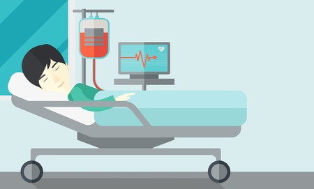 lying in: An asian patient lying in hospital bed with heart rate monitor and drop counetr isolated on white background. Horizontal layout with a text space. Illustration