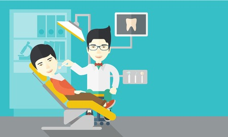 a dentist: An asian dentist man examines a patient teeth in the clinic vector flat design illustration. Horizontal layout with a text space. Illustration