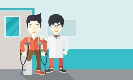 rehab: An injured asian man on crutches standing with a doctor vector flat design illustration. Horizontal layout with a text space. Vectores