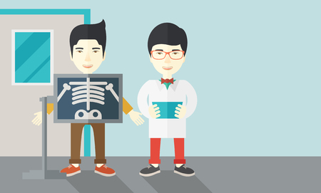 radiograph: An asian patient with x-ray screen showing his skeleton and doctor holding a radiograph vector flat design illustration. Horizontal layout with a text space.