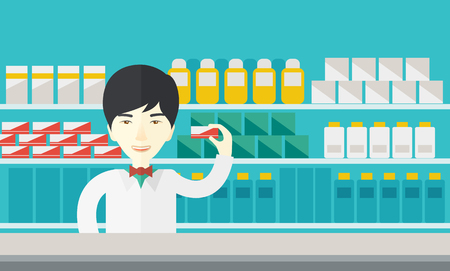 druggist: An asian pharmacist at the counter in a pharmacy opposite the shelves with medicines vector flat design illustration. Horizontal layout with a text space.