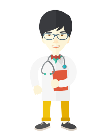 medico: A happy asian doctor in glasses holding a notepad vector flat design illustration isolated on white background. Vertical layout.