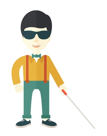 blind man: An asian blind man in dark glasses standing with walking stick vector flat design illustration isolated on white background. Vertical layout.