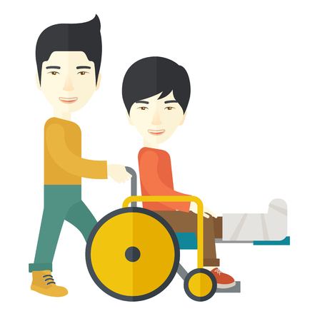 sprain: An asian man carrying a patient with broken leg in the wheelchair vector flat design illustration isolated on white background. Square layout.
