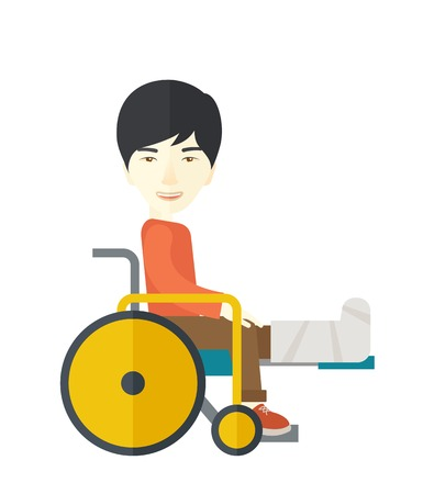 siting: An asian man with broken leg siting in the wheelchair vector flat design illustration isolated on white background. Vertical layout. Illustration