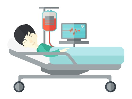 heart monitor: An asian patient lying in hospital bed with heart rate monitor and drop counetr isolated on white background. Horizontal layout.