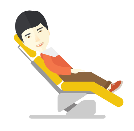 sillon dental: An asian patient sitting in the dental chair vector flat design illustration isolated on white background. Square layout. Vectores