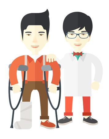 fisioterapia: Un hombre asiático heridos en muletas de pie con un diseño plano ilustración vectorial médico aislado en el fondo blanco. Diseño vertical.