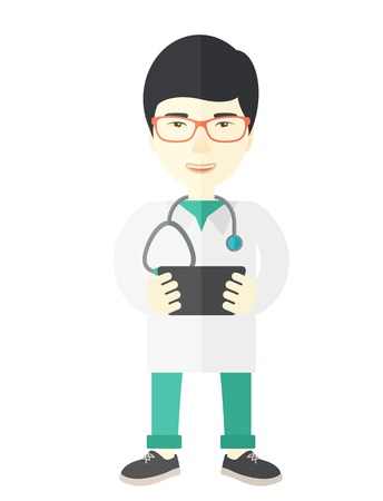 radiograph: A happy asian doctor in glasses holding a radiograph vector flat design illustration isolated on white background. Vertical layout. Illustration