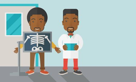 doctor and patient vector: An african-american patient with x-ray screen showing his skeleton and doctor holding a radiograph vector flat design illustration. Horizontal layout with a text space for a social media post. Illustration