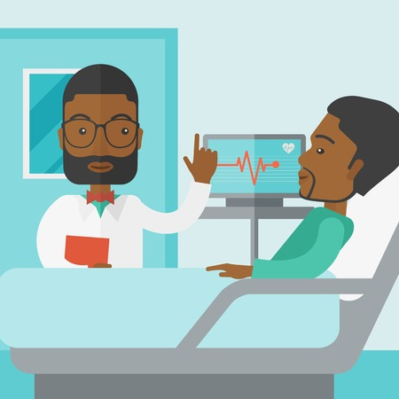lying on bed: A smiling african-american doctor visits a patient lying on hospital bed  vector flat design illustration. Square layout. Illustration