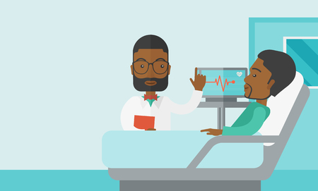 lying in bed: A smiling african-american doctor visits a patient lying on hospital bed  vector flat design illustration. Horizontal layout with a text space for a social media post.