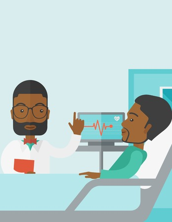 lying in bed: A smiling african-american doctor visits a patient lying on hospital bed  vector flat design illustration. Vertical poster layout with a text space. Illustration
