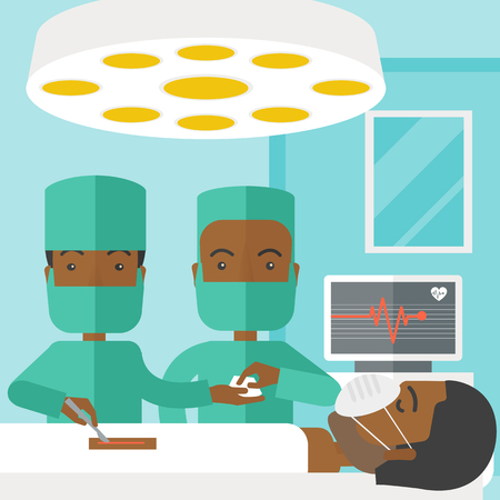 teamwork cartoon: Two african-american surgeons working and looking over a lying patient in an operating room vector flat design illustration. Square layout.