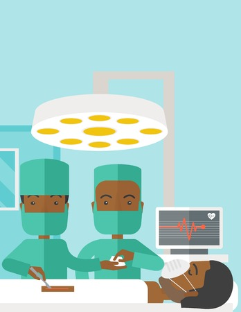 teamwork cartoon: Two african-american surgeons working and looking over a lying patient in an operating room vector flat design illustration. Vertical poster layout with a text space.
