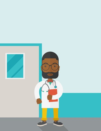 medico: A happy african-american doctor in glasses standing and holding a notepad vector flat design illustration. Vertical poster layout with a text space.