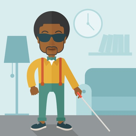 blind man: An african-american blind man in dark glasses standing with walking stick inside the house vector flat design illustration. Square layout.