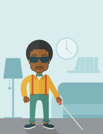 poor eyesight: An african-american blind man in dark glasses standing with walking stick inside the house vector flat design illustration. Vertical poster layout with a text space. Illustration