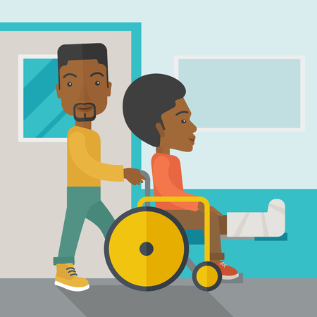 sprain: An african-american man carrying a patient with broken leg in the wheelchair vector flat design illustration. Square layout.