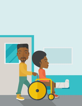 sprain: An african-american man carrying a patient with broken leg in the wheelchair vector flat design illustration. Vertical poster layout with a text space. Illustration