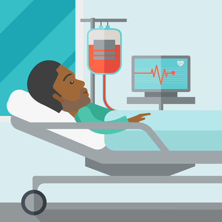 heart monitor: An african-american patient lying in hospital bed with heart rate monitor and drop counetr vector flat design illustration. Square layout.