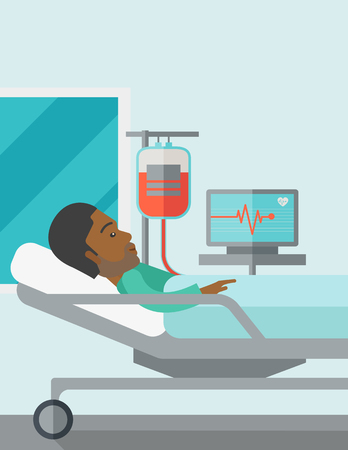 poster bed: An african-american patient lying in hospital bed with heart rate monitor and drop counetr vector flat design illustration. Vertical poster layout with a text space.