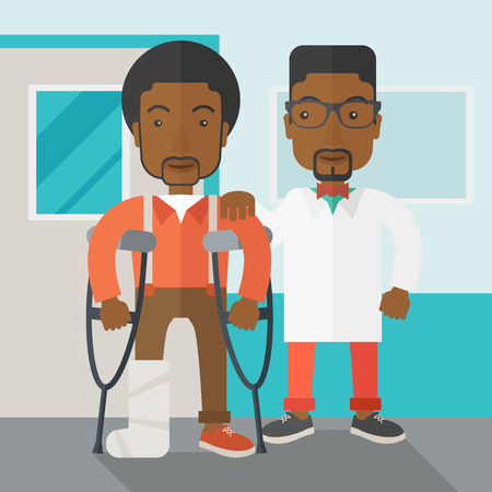 shapes cartoon: An injured african-american man on crutches standing with a doctor vector flat design illustration. Square layout. Illustration