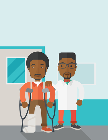 rehab: An injured african-american man on crutches standing with a doctor vector flat design illustration. Vertical poster layout with a text space.