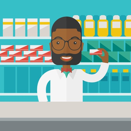 An african-american pharmacist at the counter in a pharmacy opposite the shelves with medicines vector flat design illustration. Square layout.