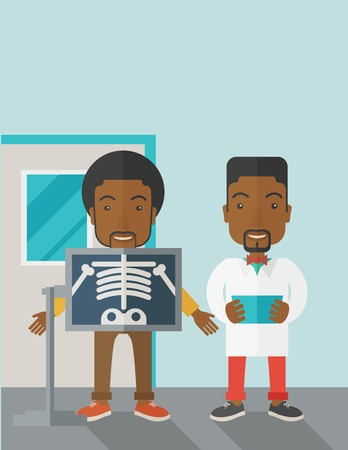 An african-american patient with x-ray screen showing his skeleton and doctor holding a radiograph vector flat design illustration. Vertical poster layout with a text space.