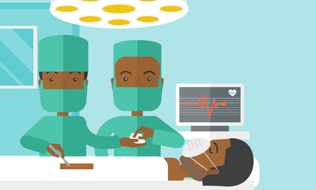 teamwork cartoon: Two african-american surgeons working and looking over a lying patient in an operating room vector flat design illustration. Horizontal layout with a text space for a social media post. Illustration