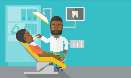 dientes caricatura: Un hombre dentista afroamericano examina a un paciente los dientes en la cl�nica del vector dise�o plano ilustraci�n. Dise�o horizontal con un espacio de texto para un puesto de medios sociales. Vectores