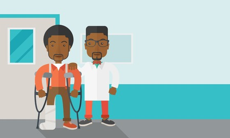physiotherapy: An injured african-american man on crutches standing with a doctor vector flat design illustration. Horizontal layout with a text space for a social media post.