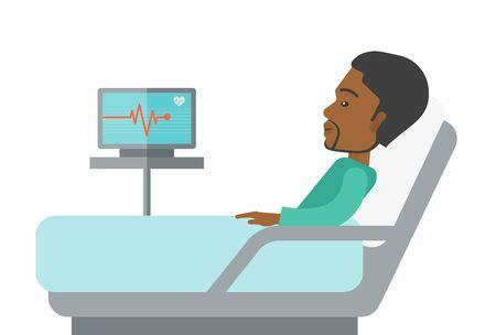흰색 배경에 고립 된 심박 모니터와 병원 침대에 누워 아프리카 계 미국인 환자. 소셜 미디어 게시물을위한 텍스트 공간이있는 가로 레이아웃.