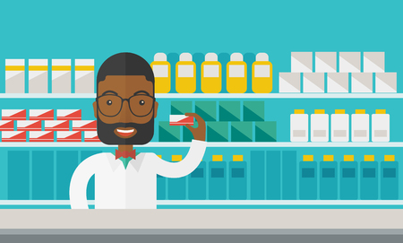 An african-american pharmacist at the counter in a pharmacy opposite the shelves with medicines vector flat design illustration. Horizontal layout with a text space for a social media post.
