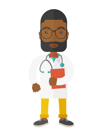medico: A happy african-american doctor in glasses holding a notepad vector flat design illustration isolated on white background. Vertical poster layout with a text space.
