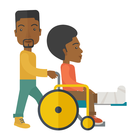 sprain: An african-american man carrying a patient with broken leg in the wheelchair vector flat design illustration isolated on white background. Square layout. Illustration