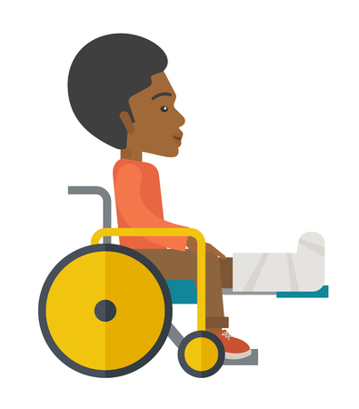 sprain: An african-american man with broken leg siting in the wheelchair vector flat design illustration isolated on white background. Vertical poster layout.