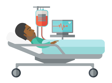 lying in bed: An african-american patient lying in hospital bed with heart rate monitor and drop counetr isolated on white background. Horizontal layout with a text space for a social media post.