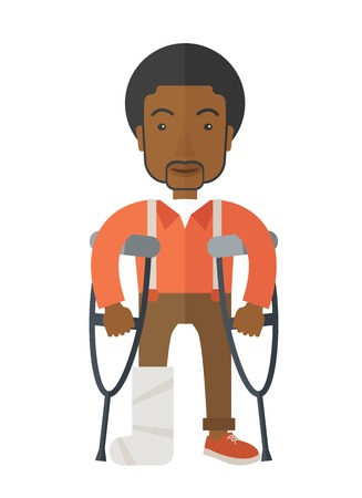 rehab: An injured african-american man on crutches standing vector flat design illustration isolated on white background. Vertical poster layout.