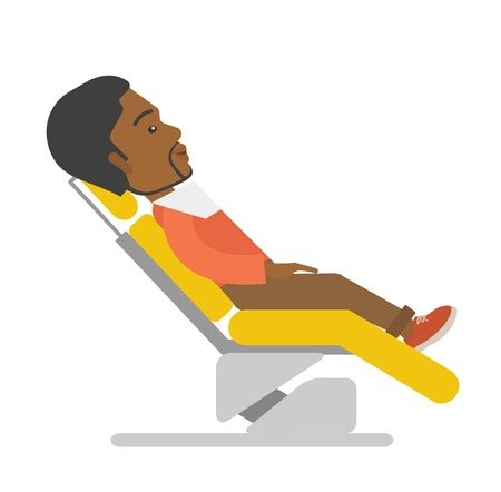sillon dental: An african-american patient sitting in the dental chair vector flat design illustration isolated on white background. Square layout. Vectores