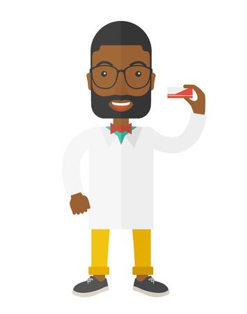 白い背景の分離されたアフリカ系アメリカ人の薬剤師立っているベクトル フラットなデザイン イラスト。垂直ポスター レイアウト。  イラスト・ベクター素材