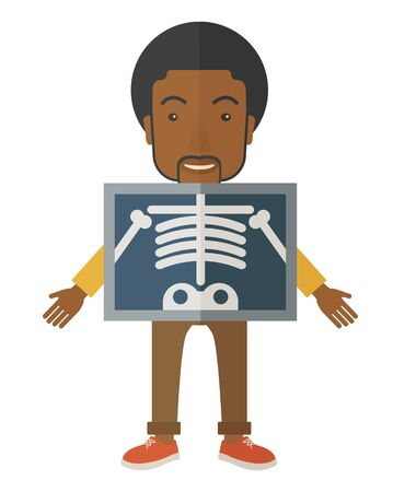 An african-american patient with x-ray screen showing his skeleton vector flat design illustration isolated on white background. Vertical poster layout.
