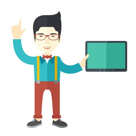 doctor tablet: An asian doctor in glasses holding a tablet and pointing finger up vector flat design illustration isolated on white background. Square layout.