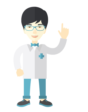 hospital gown: A happy asian doctor in glasses and medical gown showing finger up vector flat design illustration isolated on white background. Vertical layout.
